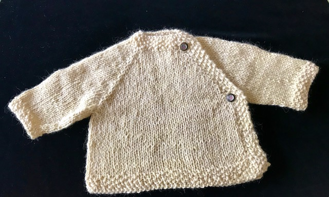 Lulu B Baby Alpaca (locally sourced) Handknit Sweater with Vintage Button